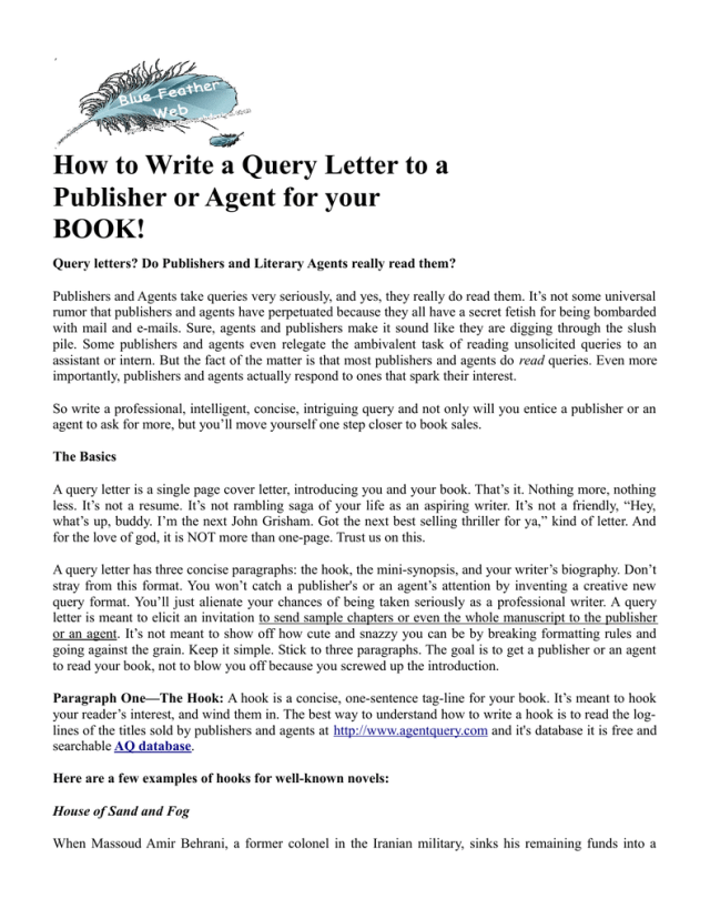 How to Write a Query Letter to a Publisher or Agent for your BOOK!