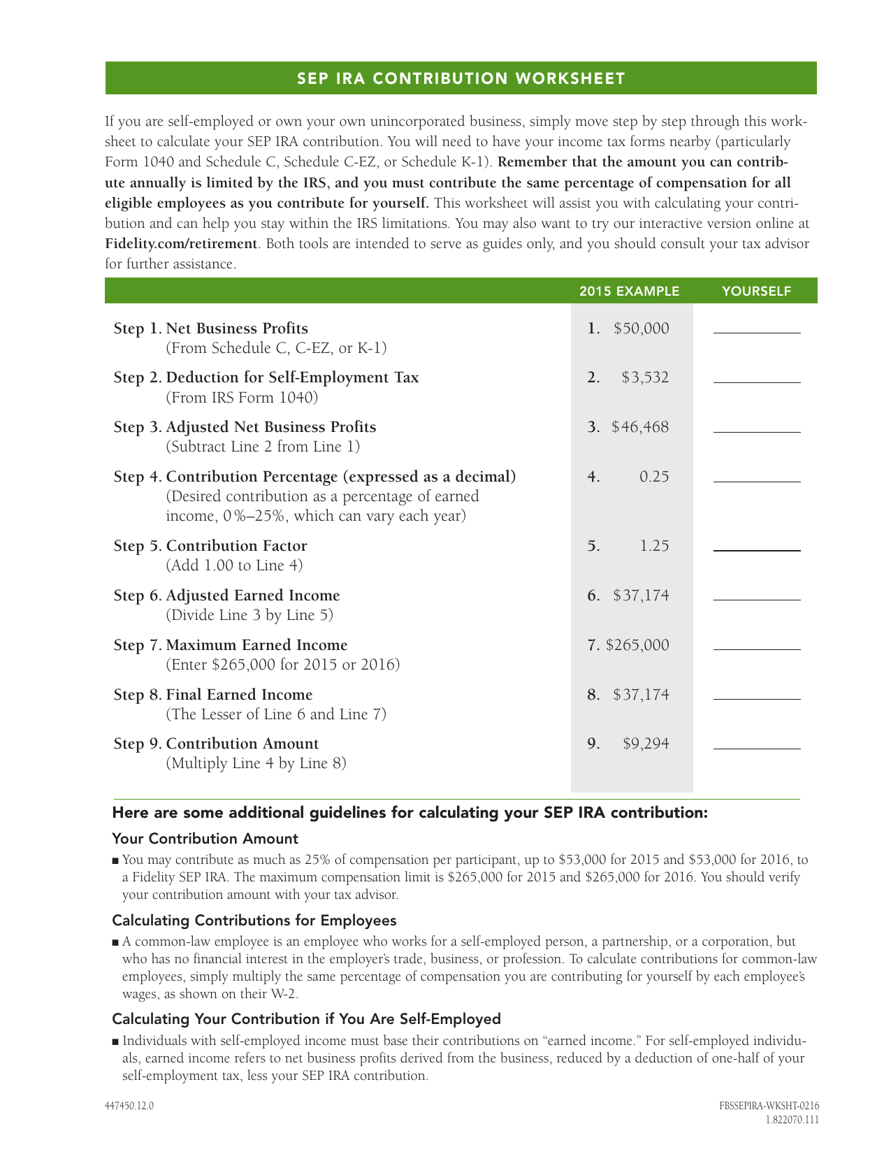 Sep Ira Contribution Worksheet