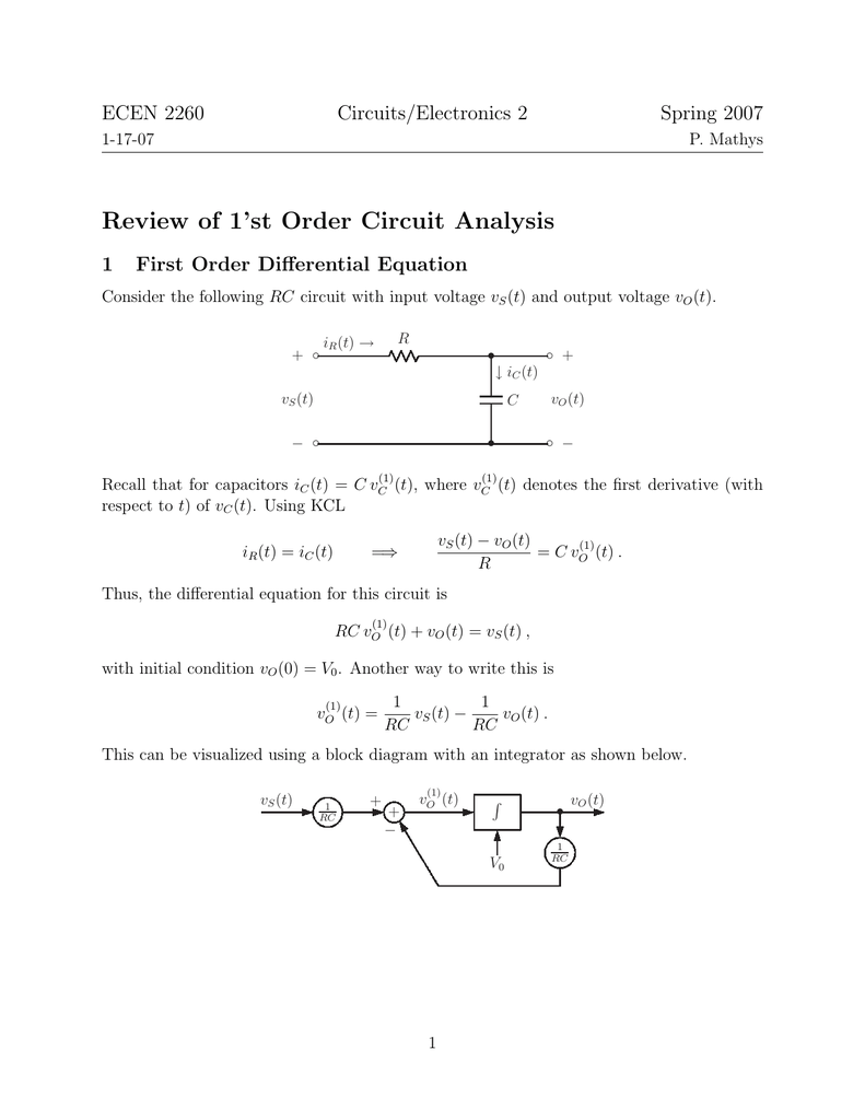 hight resolution of ecen 2260 circuits electronics 2 spring 2007 1 17 07 p mathys review of 1 st order circuit analysis 1 first order differential equation consider the