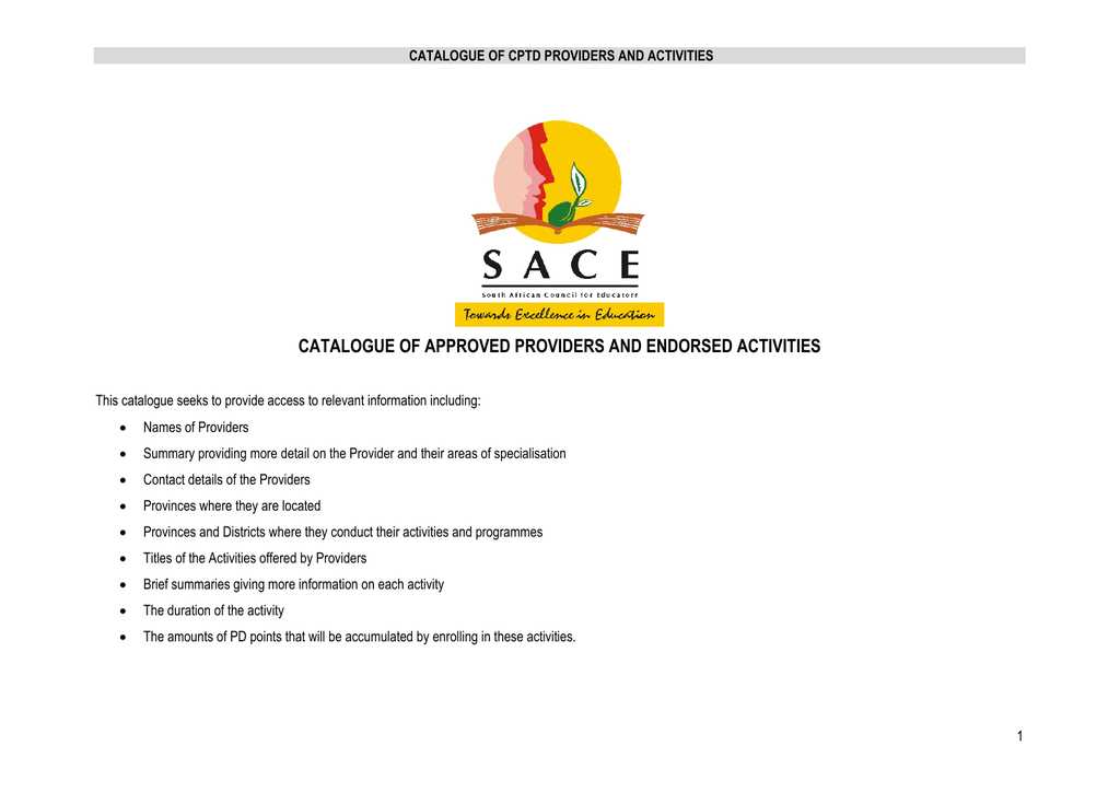 catalogue of approved providers and endorsed activities