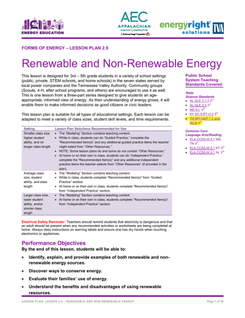 small resolution of Renewable and Non-Renewable Energy