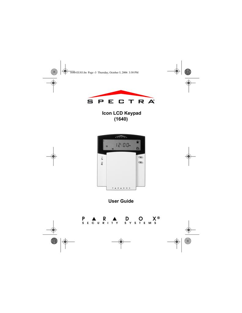 Paradox Spectra 1640 User Manual