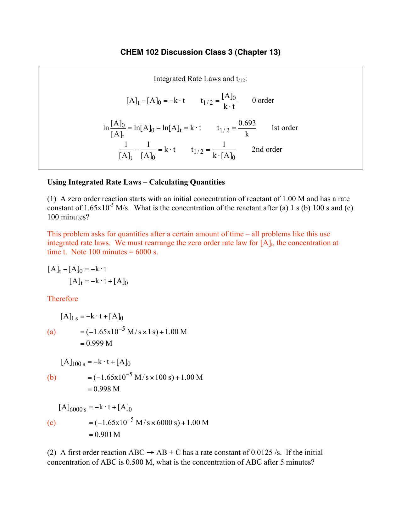 Chem 102 Discussion Class 3 Chapter 13 Integrated Rate Laws