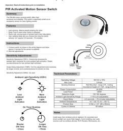 important read all instructions prior to installation pir activated motion sensor switch summary the pir5a motion sensing switch offers high sensitivity  [ 791 x 1024 Pixel ]