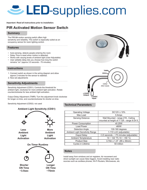 small resolution of important read all instructions prior to installation pir activated motion sensor switch summary the pir5a motion sensing switch offers high sensitivity
