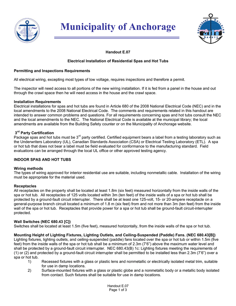 hight resolution of municipality of anchorage handout e 07 electrical installation of residential spas and hot tubs permitting and inspections requirements all electrical