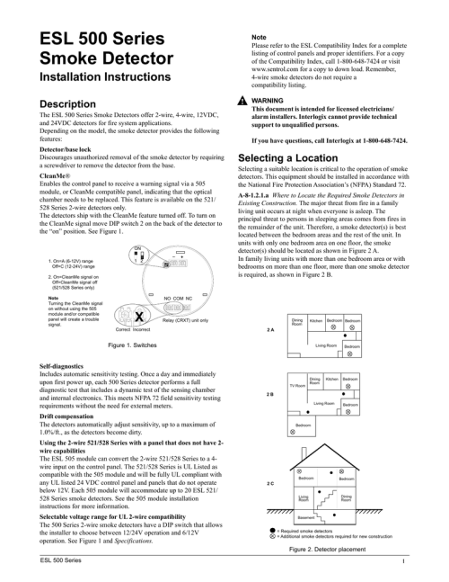 small resolution of esl 500 series smoke detector installation instructions description the esl 500 series smoke detectors offer 2 wire 4 wire 12vdc and 24vdc detectors for