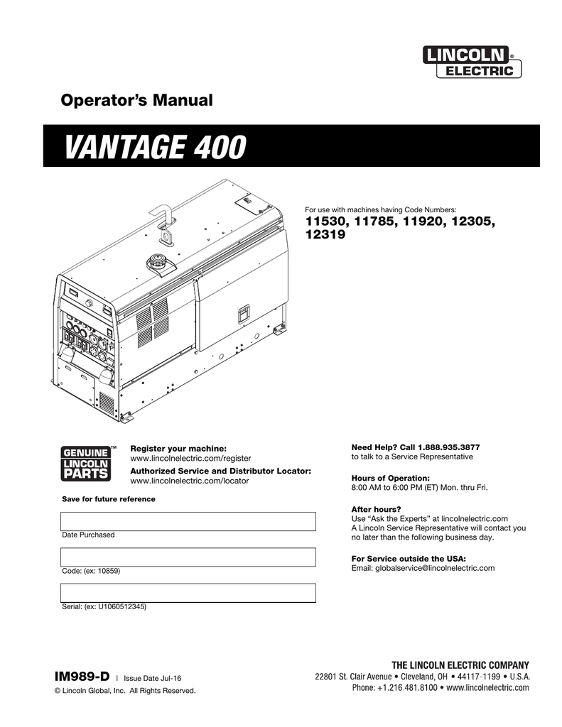 hight resolution of lincoln 400as 50 wiring diagram wiring libraryvantage 400 lincoln electric