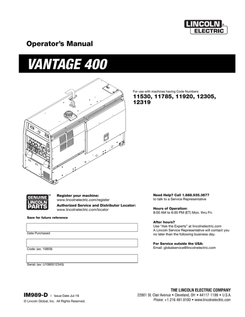 small resolution of lincoln 400as 50 wiring diagram wiring libraryvantage 400 lincoln electric