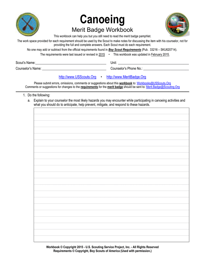 Canoeing Merit Badge Requirements : canoeing, merit, badge, requirements, Canoeing, Scouting, Service, Project