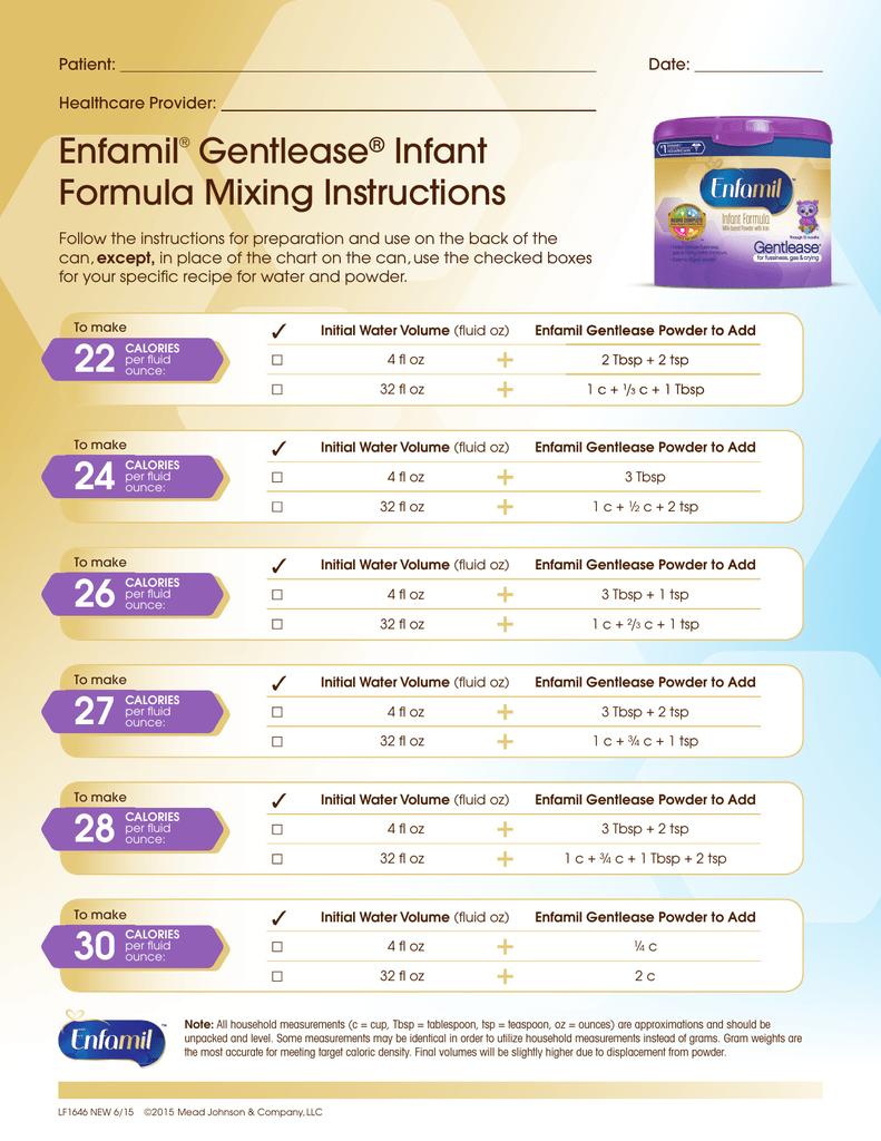 Enfamil® Gentlease® Infant Formula Mixing Instructions