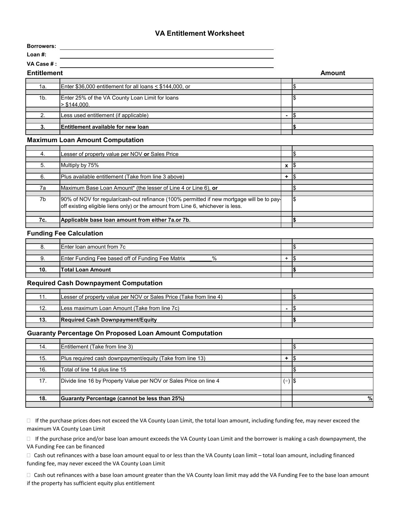Va Max Loan Amount Worksheet