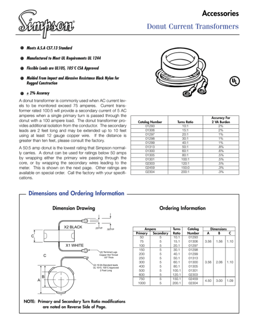 small resolution of donut current transformers accessories dc wiring diagram donut ct wiring diagram