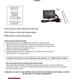 installation instructions for truck lite ultraflash ii heavy duty solid state flashers 12 or 24 volt operation rated for maximum 25 amp 12 8 volt load 12  [ 791 x 1024 Pixel ]