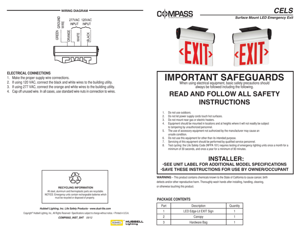 medium resolution of cels wiring diagram surface mount led emergency exit important safeguards when using electrical equipment basic safety precautions should electrical