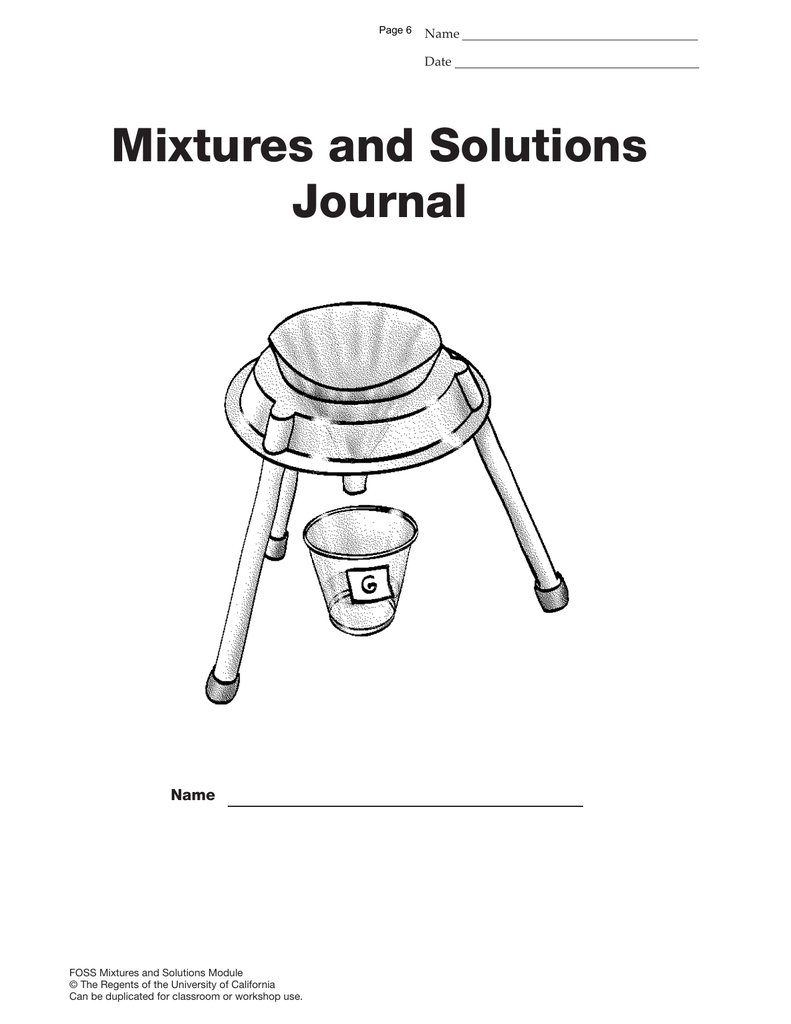Mixtures and Solutions Journal