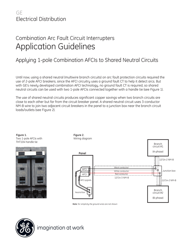 hight resolution of ge electrical distribution combination arc fault circuit interrupters application guidelines applying 1 pole combination afcis to shared neutral circuits