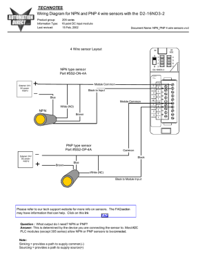 Wiring diagram for NPN and PNP 4 wire sensors and D216ND32
