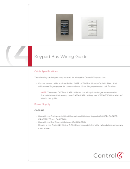 small resolution of keypad bus wiring guide cable specifications the following cable types may be used for wiring the control4 keypad bus control system cable