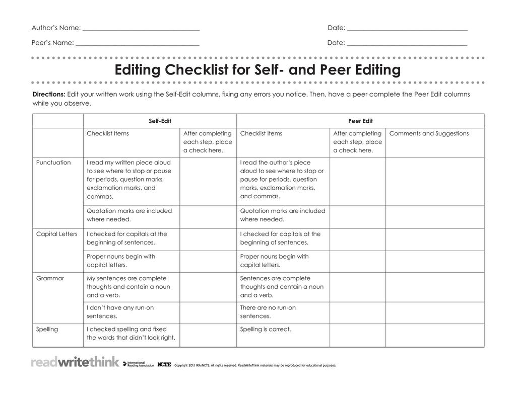 Writing Peer Review Worksheet