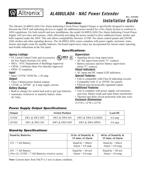 small resolution of 010400 installation guide overview the altronix al400ulada fire alarm indicating circuit power supply charger is specifically designed to interface between