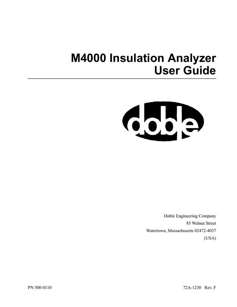 Doble M4100 Insulation Analyzer User Guide