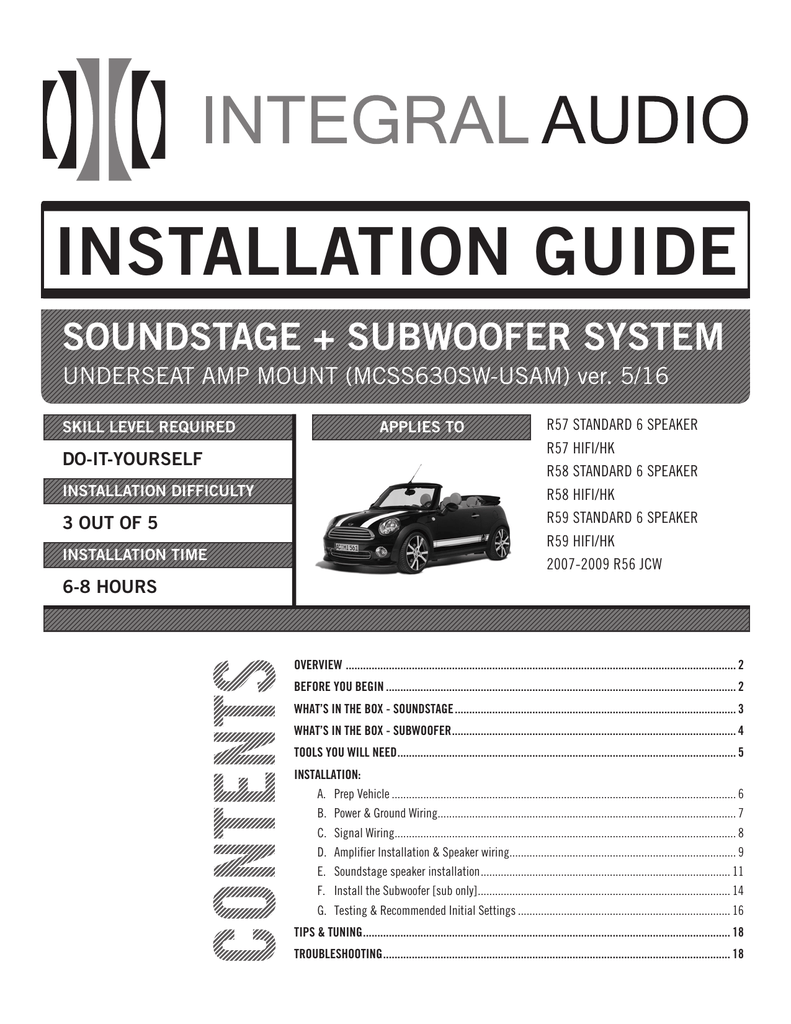 medium resolution of installation guide integral audio mini cooper amplfier speaker wiring harness r55 r56 r57