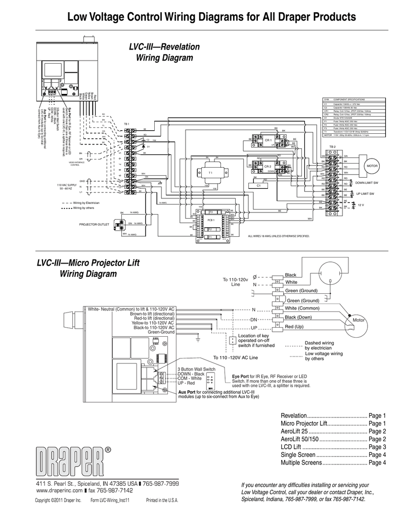 hight resolution of low voltage control wiring diagrams for all draper products lvc iii revelation wiring diagram red brown yellow green white black bn tb 1 yl 1 rd 2 3 be yw
