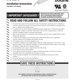 bsl26 installation instructions emergency led driver nrtl c output lvle compliant when using electrical equipment basic safety precautions should always be  [ 791 x 1024 Pixel ]