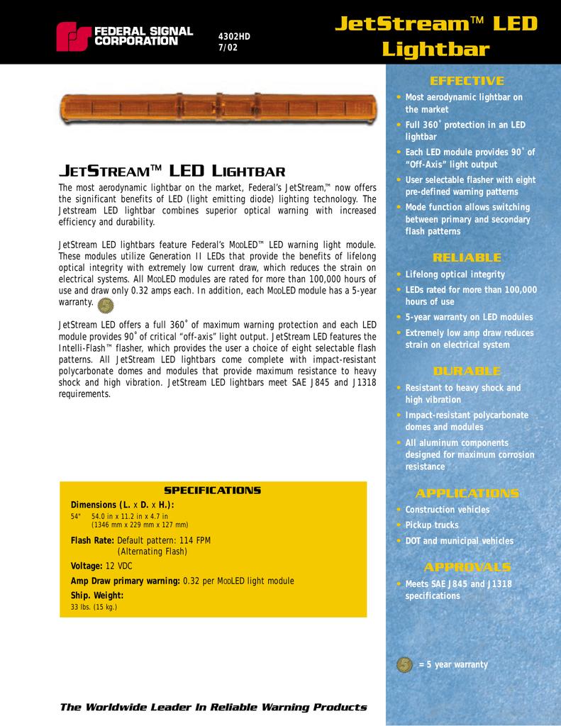 medium resolution of  4302hd jetstream led lightbar on federal signal jetstream manual federal signal strobe wiring diagram