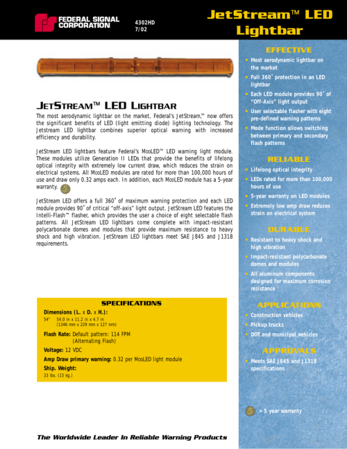 small resolution of  4302hd jetstream led lightbar on federal signal jetstream manual federal signal strobe wiring diagram