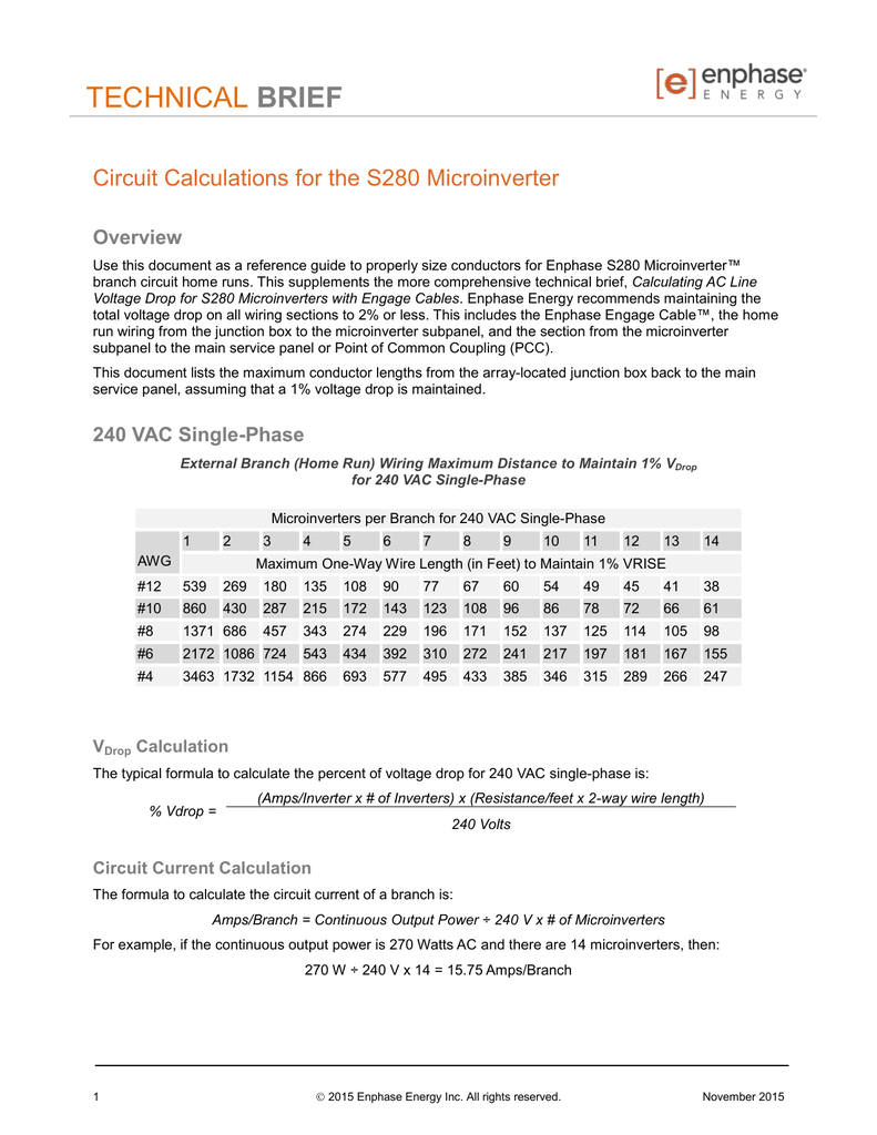 hight resolution of technical brief circuit calculations for the s280 microinverter overview use this document as a reference guide to properly size conductors for enphase s280