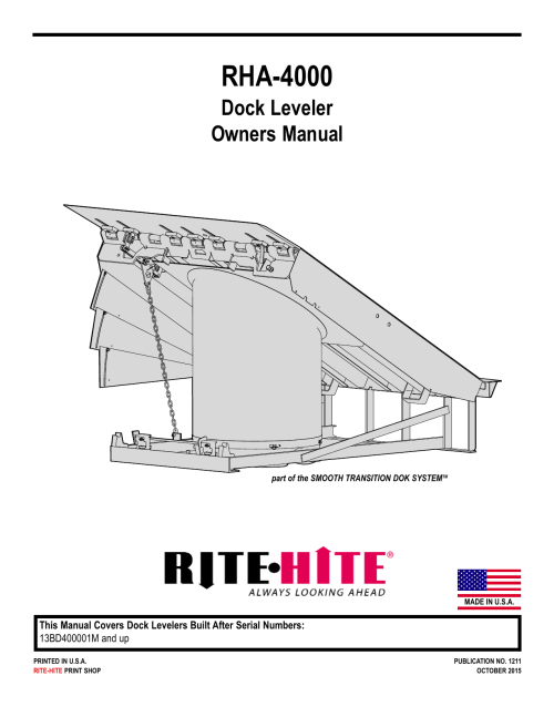 small resolution of rha 4000 dock leveler owners manual part of the smooth transition dok systemtm made in u s a this manual covers dock levelers built after serial numbers