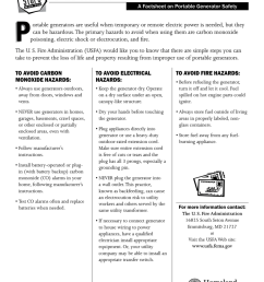 portable generator hazards a factsheet on portable generator safety p ortable generators are useful when temporary or remote electric power is needed  [ 791 x 1024 Pixel ]