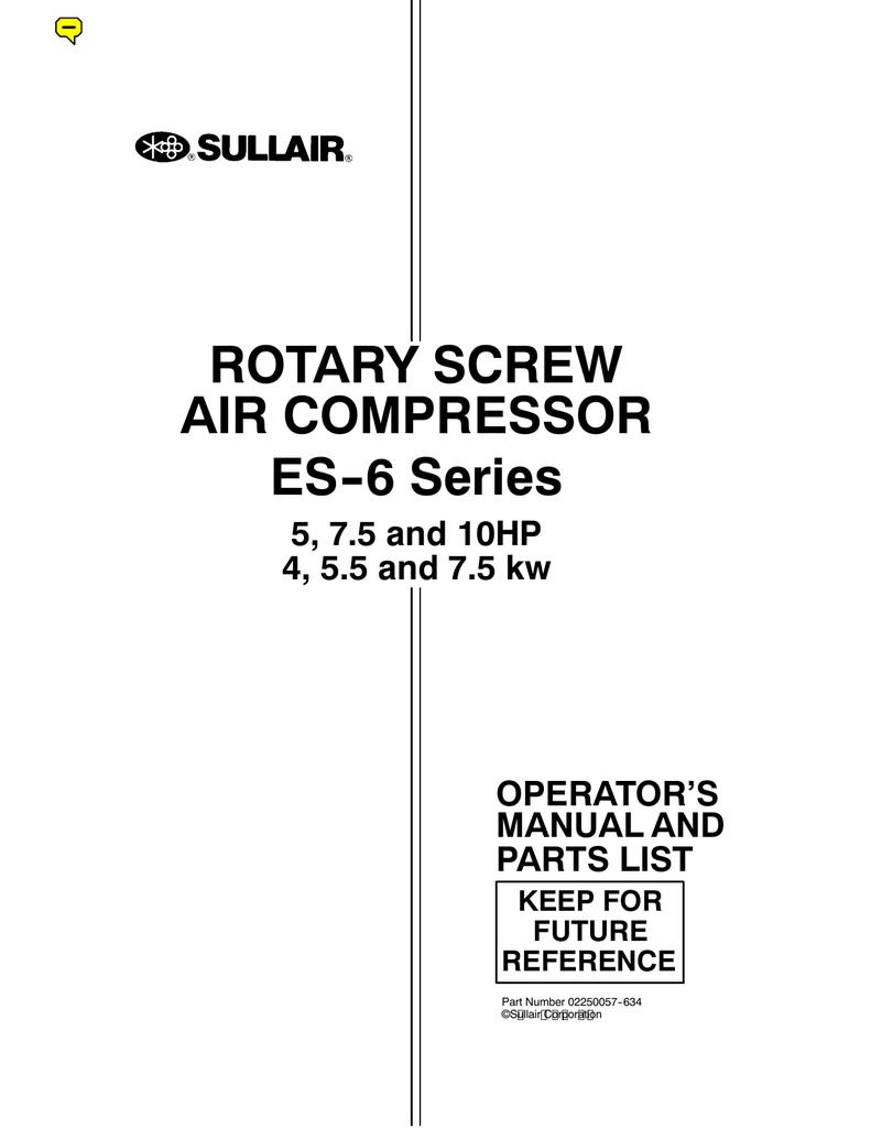 hight resolution of rotary screw es 6 series air rh studylib net sullair ls 10 wiring diagram sullair 185