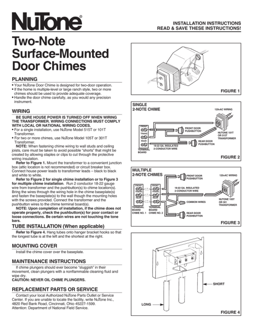 small resolution of installation instructions read save these instructions two note surface mounted door chimes planning your nutone door chime is designed for two door