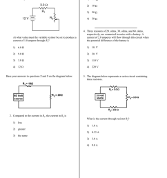 the diagram below represents an electric circuit consisting of a 12 volt battery a 3 0 ohm resistor r1 and a variable resistor r2  [ 791 x 1024 Pixel ]