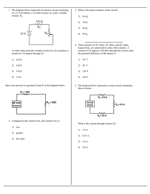 small resolution of the diagram below represents an electric circuit consisting of a 12 volt battery a 3 0 ohm resistor r1 and a variable resistor r2