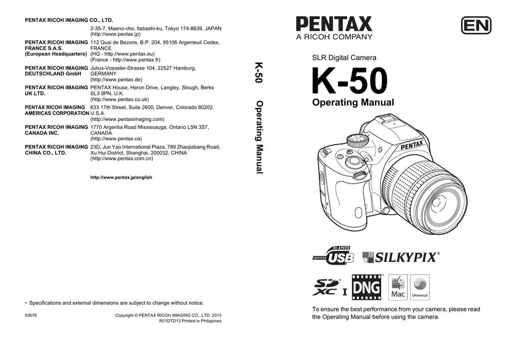 PENTAX K-50 Operating Manual