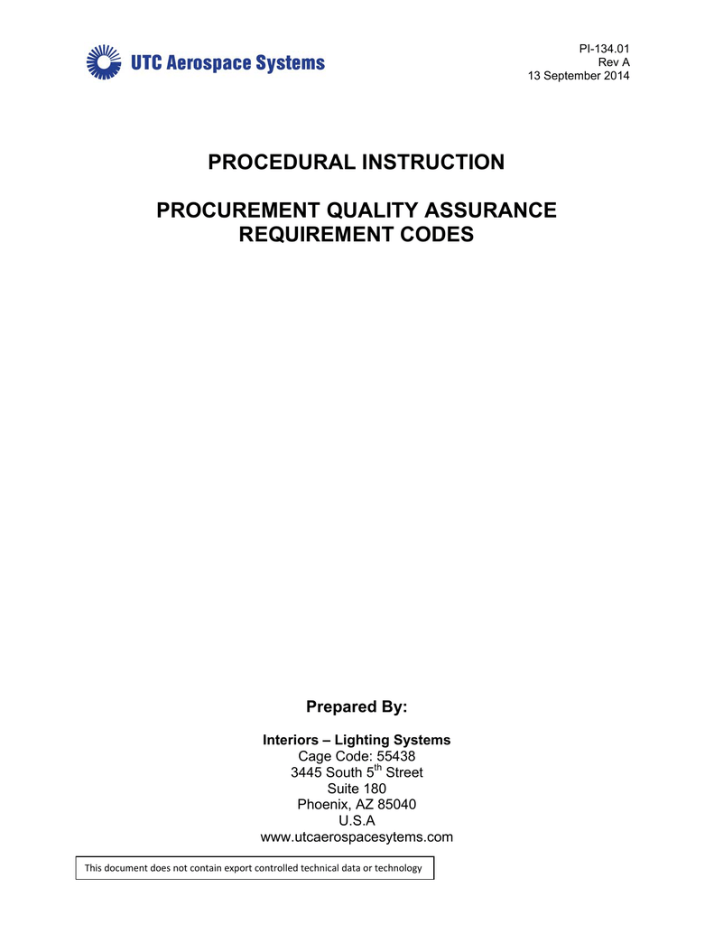 medium resolution of pi 134 01 rev a 13 september 2014 procedural instruction procurement quality assurance requirement codes prepared by interiors lighting systems cage