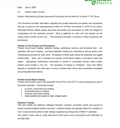 date june 9 2008 to whom it may concern subject manufacturing quality assurance procedures for the altivar 61 altivar 71 ac drives this document  [ 791 x 1024 Pixel ]