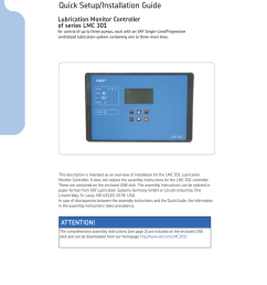 951 150 029 en quick setup installation guide lubrication monitor controller of series lmc 301 for control of up to three pumps each with an skf  [ 768 x 1024 Pixel ]