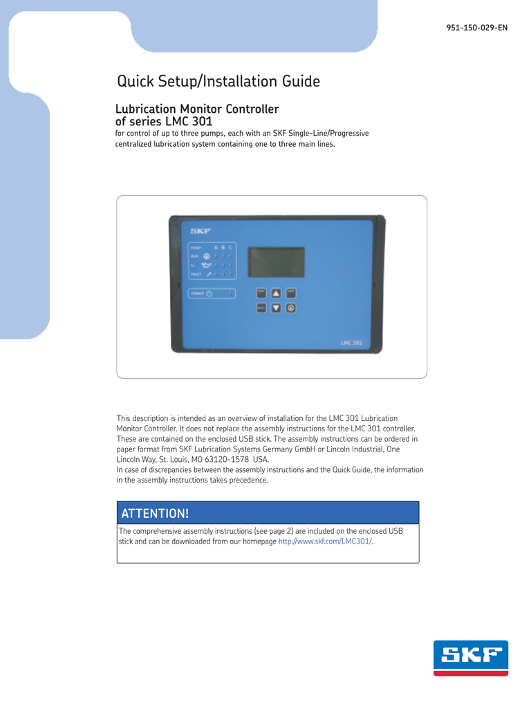 medium resolution of 951 150 029 en quick setup installation guide lubrication monitor controller of series lmc 301 for control of up to three pumps each with an skf