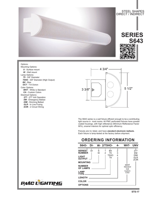small resolution of steel shapes direct indirect series s643 options mounting options s surface mount w wall mount lamp options t5 5 8 diameter t5ho 5 8 diameter