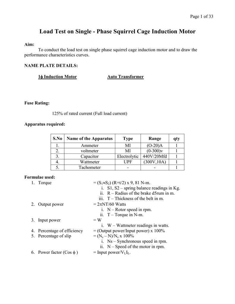 medium resolution of page 1 of 33 load test on single phase squirrel cage induction motor aim to conduct the load test on single phase squirrel cage induction motor and to