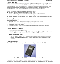 san jos state university e10 introduction to engineering solar cell characterization lab guidelines rev 2 6 2014 project overview various technologies have  [ 791 x 1024 Pixel ]