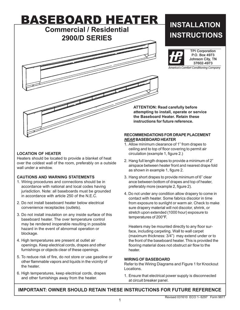 medium resolution of tpi baseboard heater installation instructions tpi wiring diagram baseboard