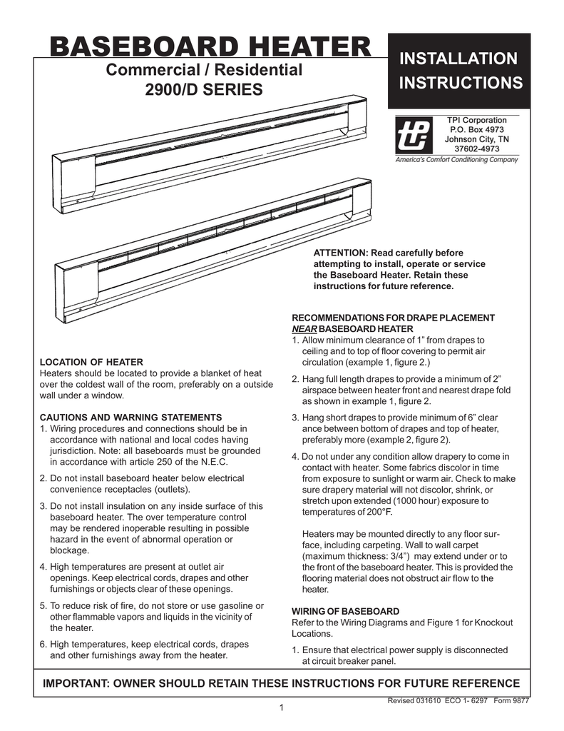 hight resolution of tpi baseboard heater installation instructions tpi wiring diagram baseboard
