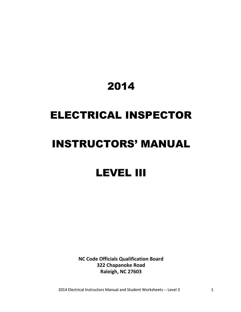 2014 NEC Instructor Manual and Student Worksheets Level 3