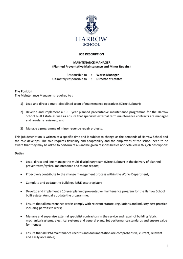 Maintenance Manager - The Server Cover Letter